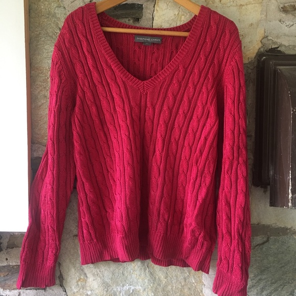 Josephine Chaus Pink Cable Knit Sweater, Sz L